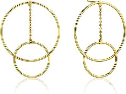 Large Sterling Silver Geometric Round Hoop Art Deco Statement Hanging Drop Earrings, White Rhodium