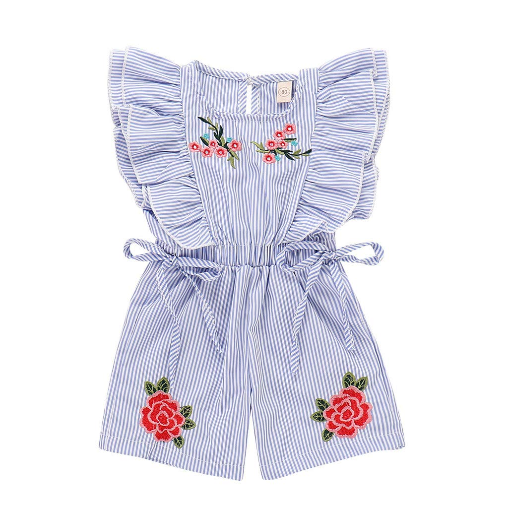 4Clovers Toddler Baby Girl Ruffled Rompers Sleeveless Cotton Romper Bodysuit Jumpsuit Clothes
