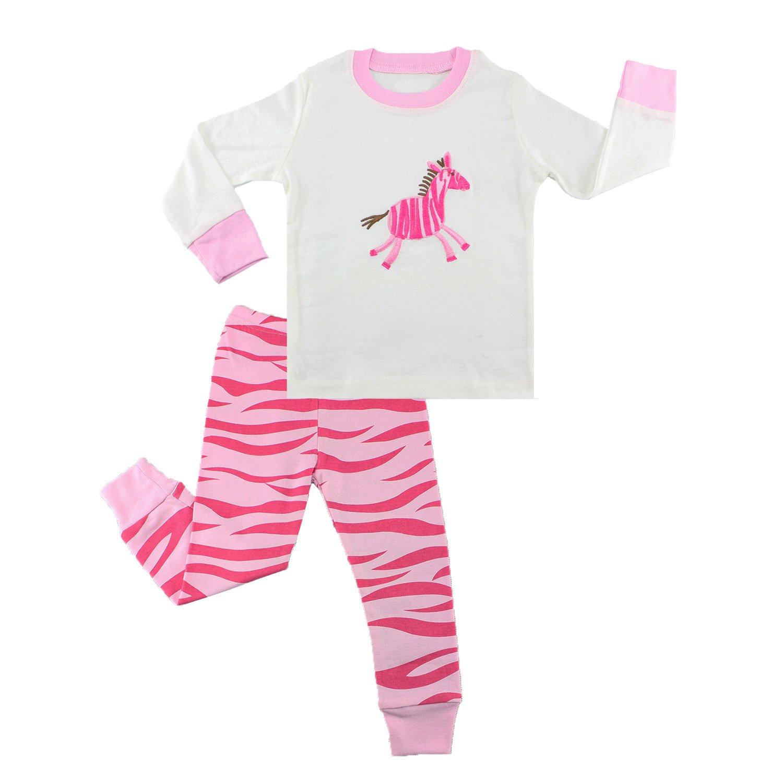 Mumkiss Kids Pajamas Set, 100% Cotton Children Sleepwear and Leisurewear (6T, White Unicorn)