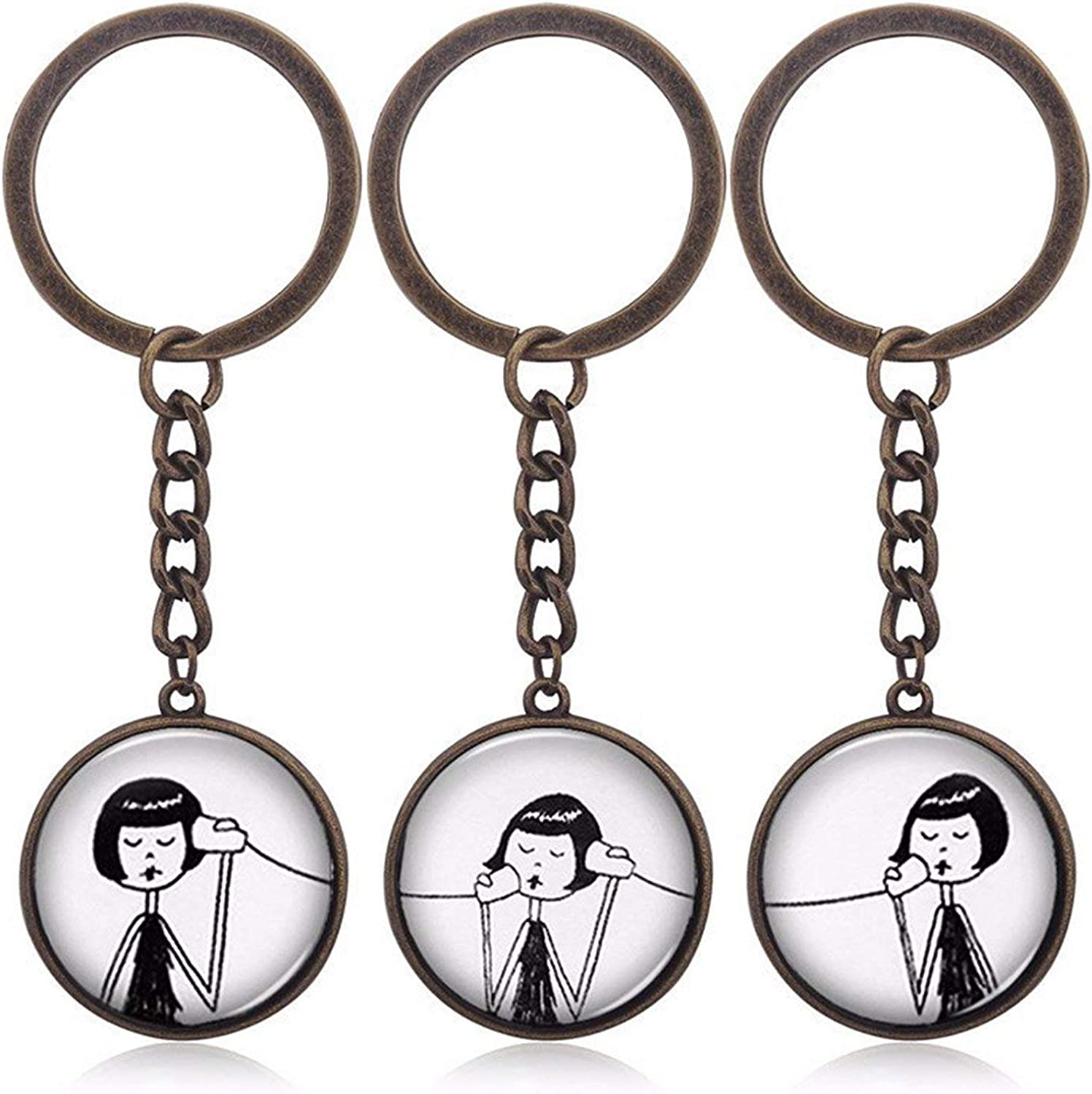 2019 New Hot Fashion Jewelry Creative Keychain 3//2 pcs Sets Alloy Personality Phone Necklace Best Friend Forever Pendants Gifts