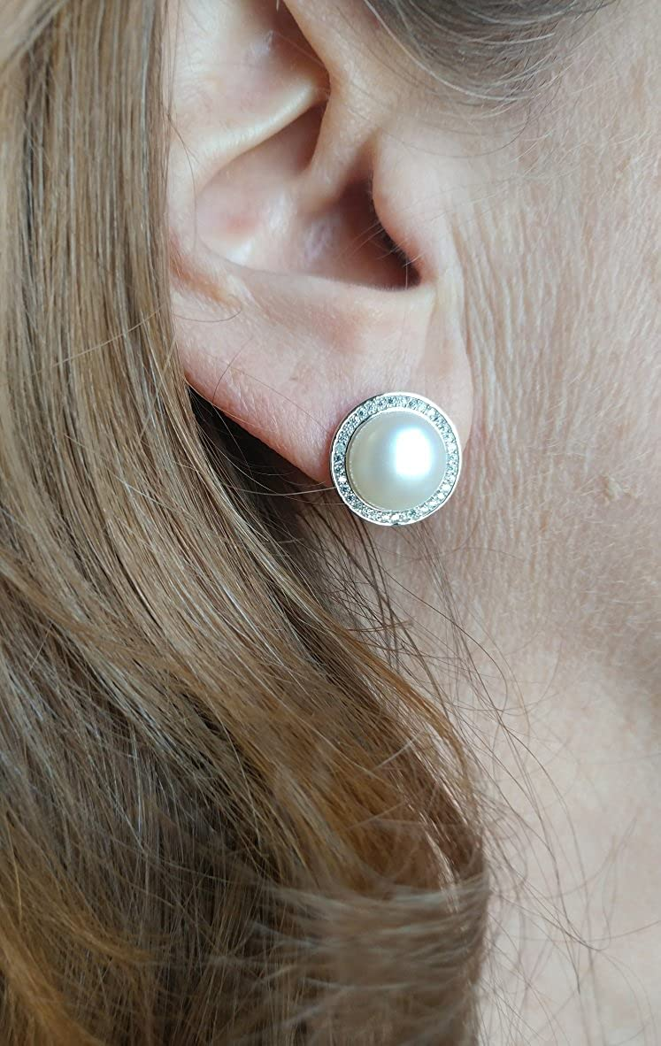 LooptyHoops Your Choice: Sterling Silver CZ Halo Freshwater Pearl Stud Earrings Matching Freshwater Pearl Pendant /& Necklace OR Gift Set of All Three OR