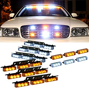 Amber White 54X LED Deck Visor Flashing Strobe Lights for Truck Construction Security Vehicles - Interior Yellow Emergency Warning Lights for Dash Grille