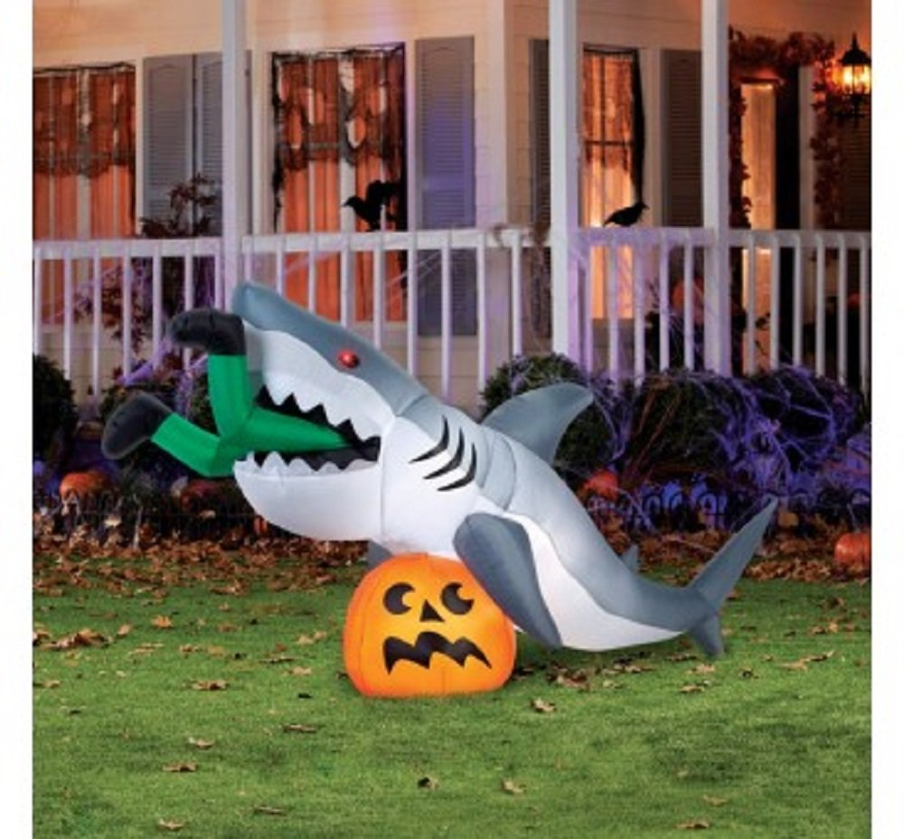 9 Foot ''Caught By a Shark'' Animated Halloween Inflatable