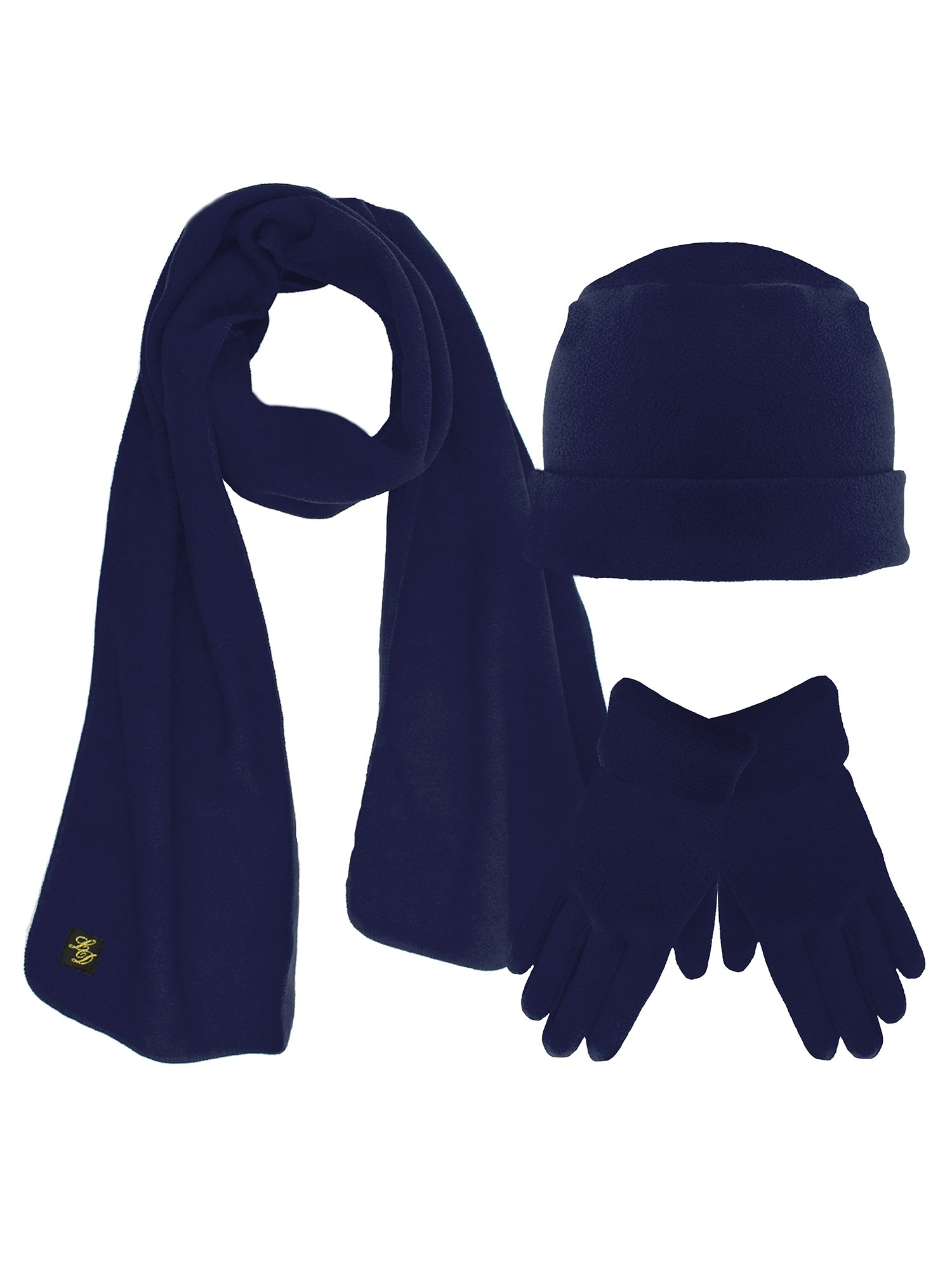 Navy Blue 3 Piece Fleece Hat Scarf & Glove Matching Set
