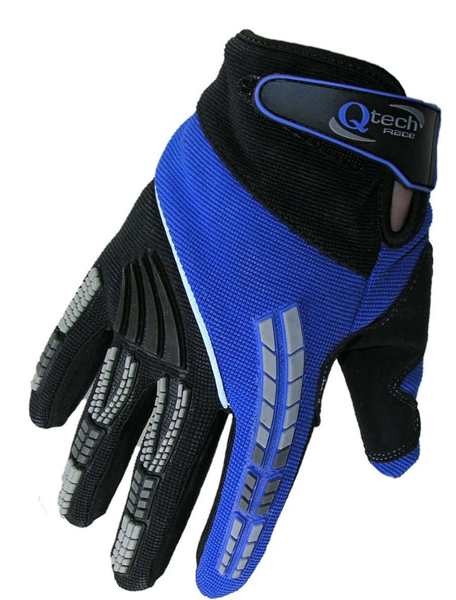 Qtech CHILDRENS Motorcycle Motorbike Riding MX GLOVES for Kids Trials Motocross Cycling with Short Cuff Protected - BLUE XS