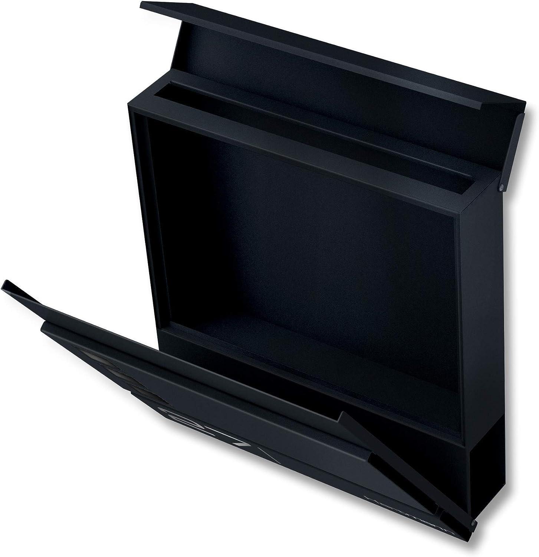 Gr/ö/ße: 37 x 37 x 10,5 cm Zeitungsfach Name /& Hausnummer als Lasergravur Briefkasten mit Fenster Metzler Briefkasten in Anthrazit RAL 7016 Cube Design Wandbriefkasten inkl