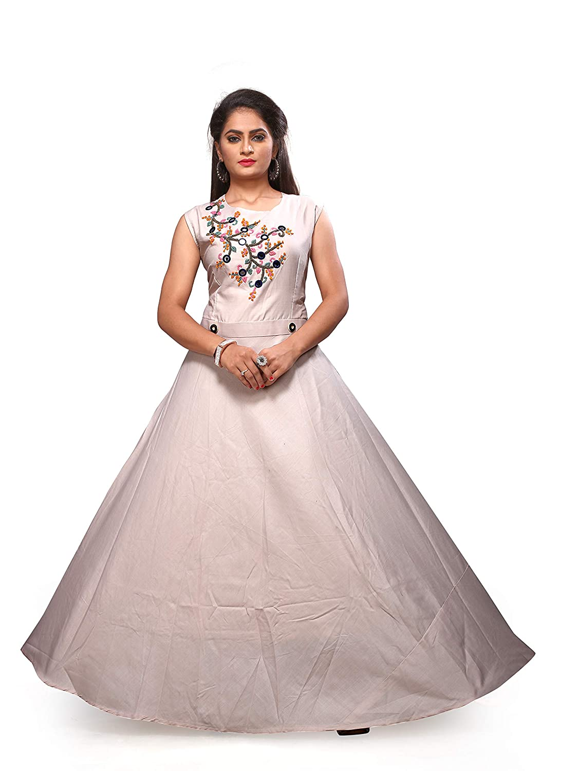 c445e30a97 Manoram Women s Cotton Thread   Zardosi Hand Work Semi - Stitched Gown  Blush Pink Color - Free Size  Amazon.in  Clothing   Accessories