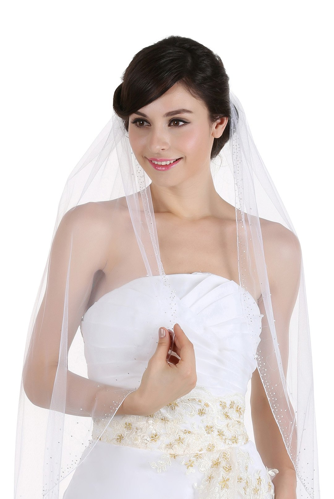 1T 1 Tier Wide Crystal Beaded Edge Veil - Ivory Cathedral Length 120'' V364