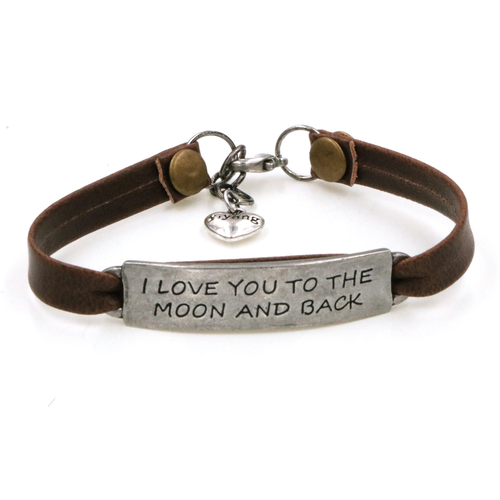 Yiyang Promise Bracelet Durable Brown Leather Bangle I Love You to the Moon and Back