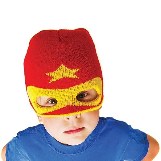 Amazon.com  Boys Hero Beanie Hat - Red - Knit Winter Kids Ski Mask ... f7535a300b10