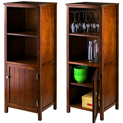 Walnut Accent Cabinet With Slatted Door And Shelves Wooden Vertical Tall  Narrow Utility Cabinet With 4