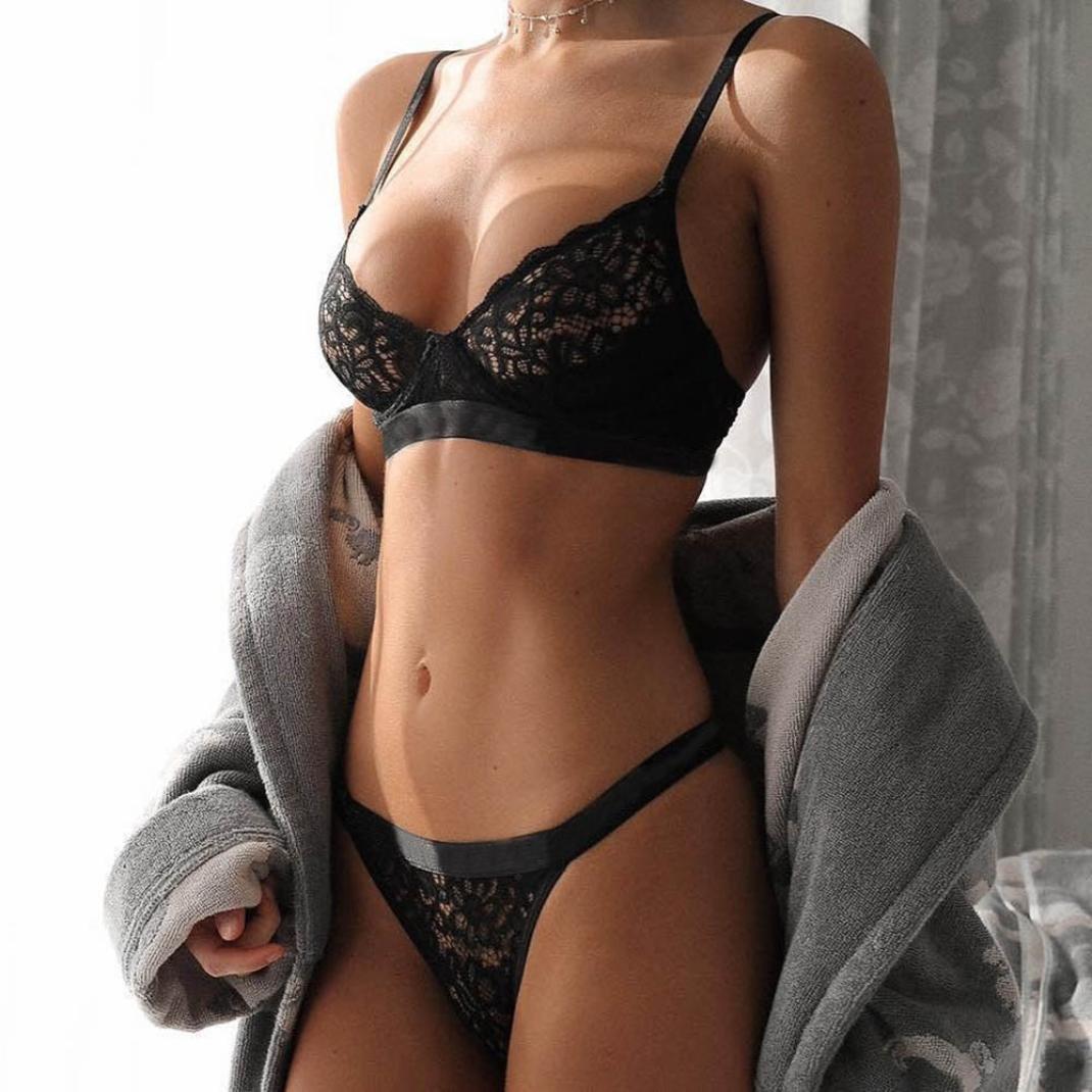 Amazon.com: Vovotrade Women Underwear Lace Lingerie Fashion Corset Underwire Racy Muslin Bodysuit Temptation Bra+ G-String: Clothing