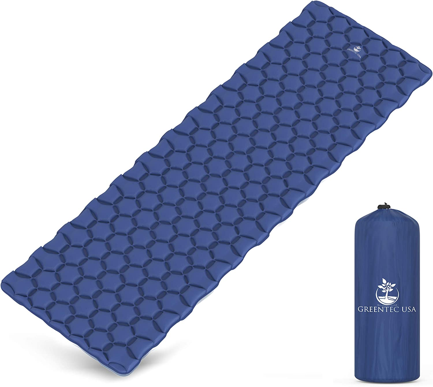 GREENTEC USA Premium Ultralight Sleeping Pad - Inflatable Compact Sleeping Mat Camping, Hiking Backpacking - Lightweight, Comfortable Durable - Works Perfectly Underneath Any Style Sleeping Bag