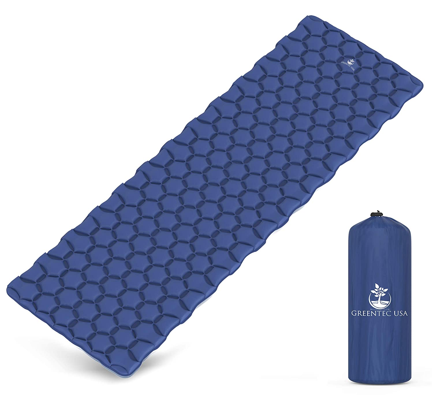 GREENTEC USA Premium Self-Inflating Sleeping Pad - Inflatable Foam Sleeping  Mat for Camping, Hiking, and Traveling - Lightweight, Compact, and Durable
