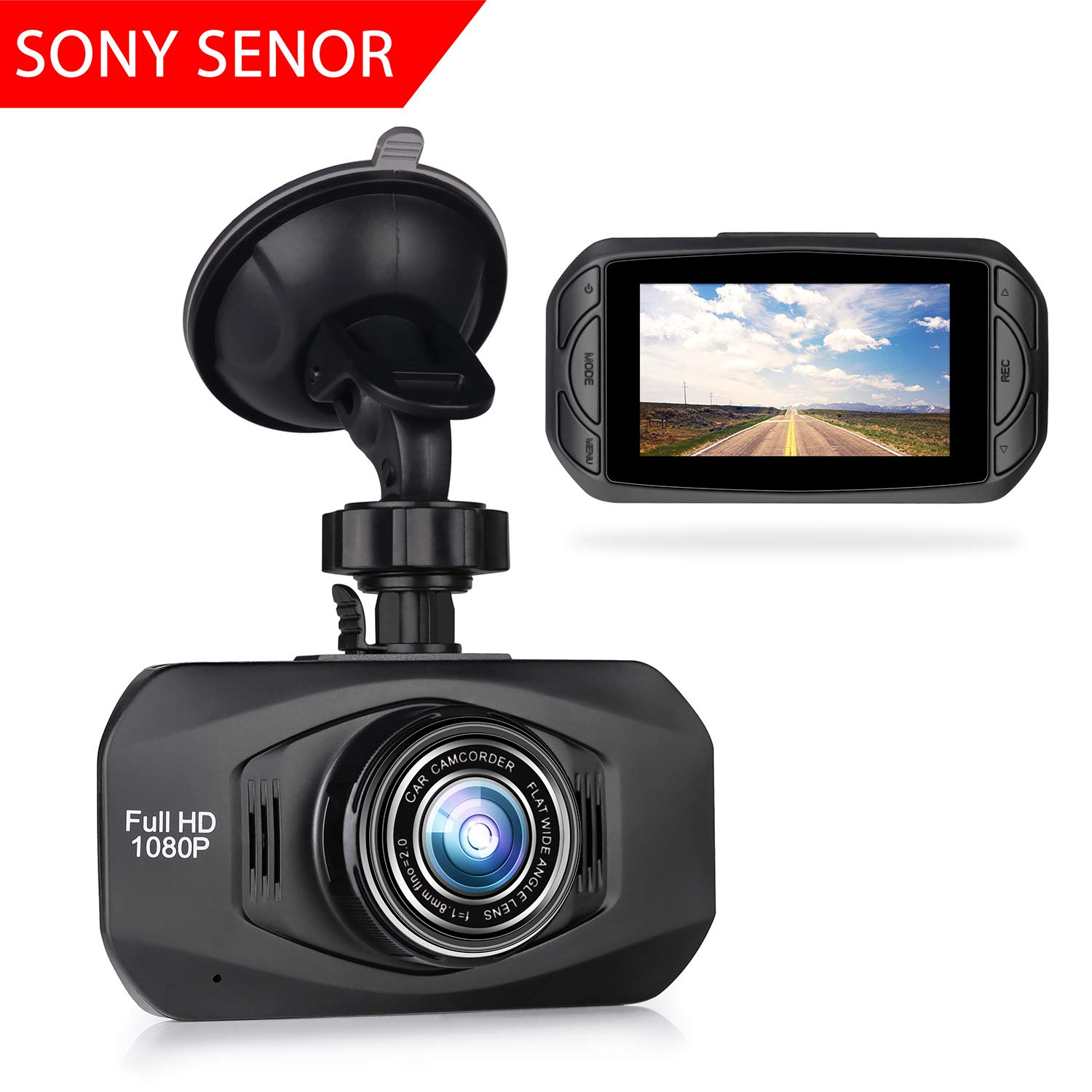 TIMPROVE Dash Cam 1080P FHD DVR Recorder Car Dashboard Camera with Sony IM323 Sensor, 2.7' LCD Screen, 6-Lane 170° Wide Angle Lens, WDR, G-Sensor, Motion Detection and Super-Sharp Night Vision 2.7 LCD Screen T47