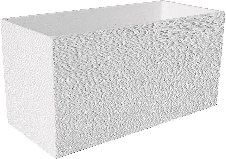 ARTESANÍA ROCA Maceta DE Piedra Muy Resistente con Fibras Especiales 60x17cm x 19cm Altura.Maceta Futura (Blanco)