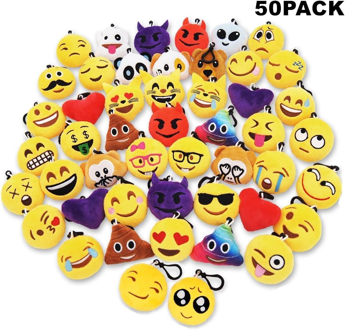 Sunliday 50Pack Emoji Llaveros, Suministros de Fiesta,Decoración del Bolso y del Anillo dominante para el Regalo 5cm(Clip Negro)
