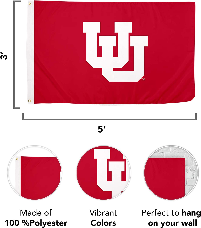 Design #2 University of Utah NCAA 100/% Polyester Indoor Outdoor 3 feet x 5 feet Flag