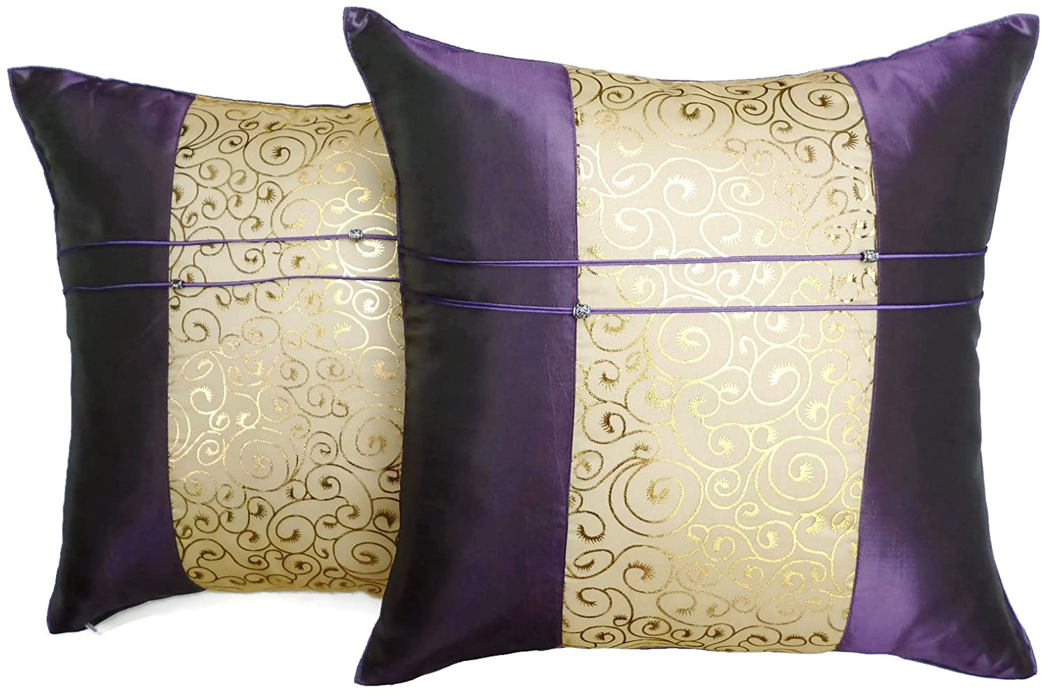 Set of Two Purple Silk Throw Cushion Pillow Covers Gold Print Middle Stripe for Decorative Living Room Bed room Sofa Car Size 16 x16 Inches