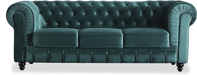 Adec - Chesterfield, Sofa de Tres plazas, Sillon Descanso 3 Personas Acabado en capitone Color Velvet Verde, Medidas: 211 cm (Ancho) x 84 cm (Fondo) 75 cm (Alto)