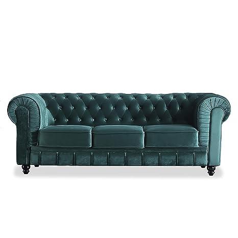 Adec - Chesterfield, Sofa de Tres plazas, Sillon Descanso 3 Personas Acabado en capitone Color Velvet Verde, Medidas: 211 cm (Ancho) x 84 cm (Fondo) ...