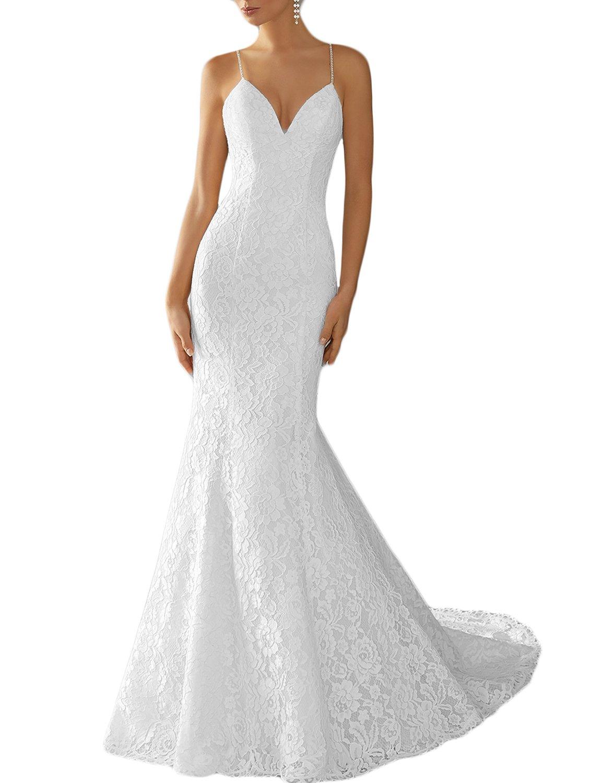 DarlingU Women's Backless Mermaid Spaghetti Straps Lace Wedding Dress Formal Bridal Gowns 2018 White 10