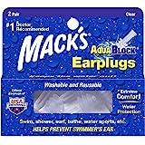 Mack's AquaBlock Swimming Earplugs - Comfortable, Waterproof, Reusable Silicone Ear Plugs for Swimming, Snorkeling, Showering