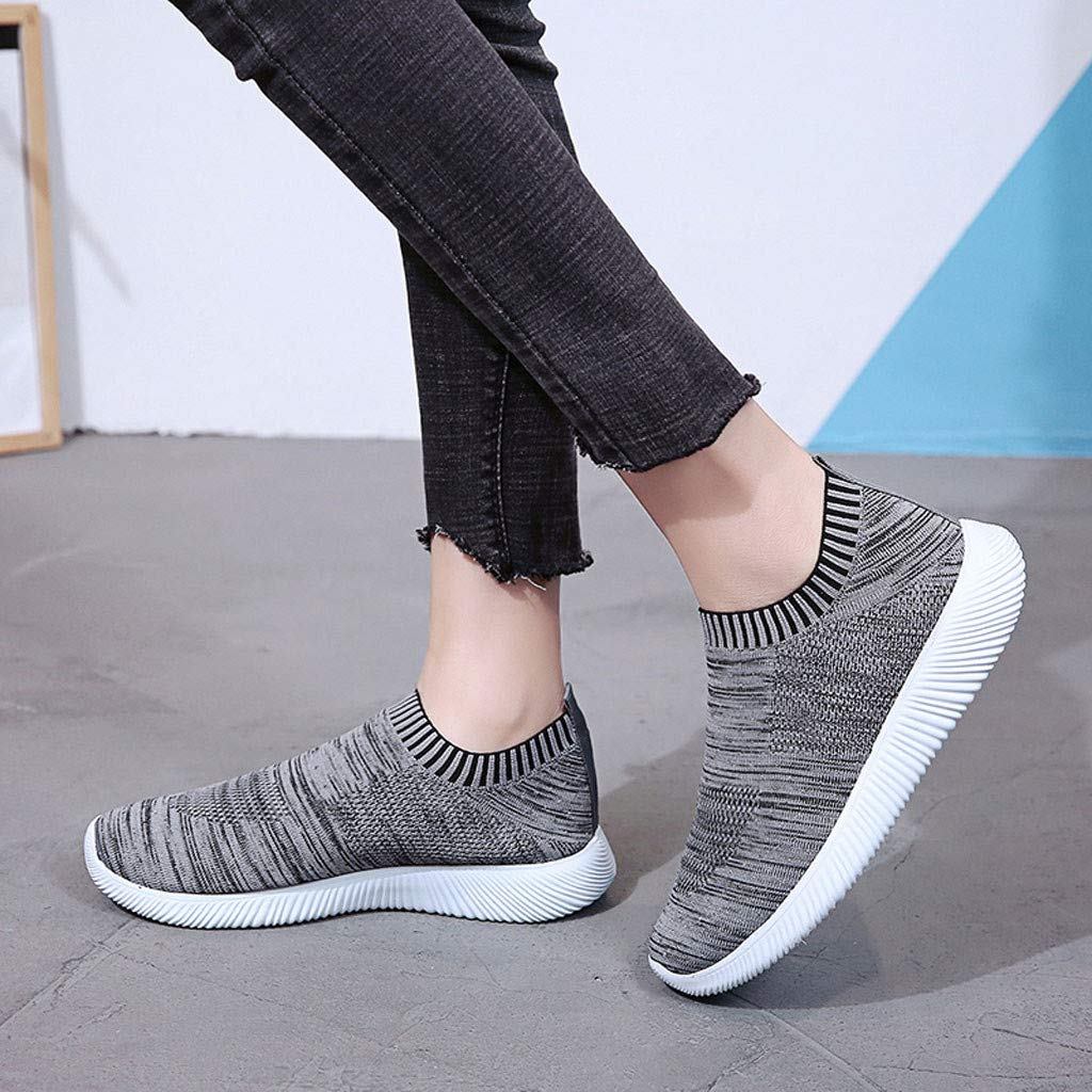 bc771b5e2b8b2 Amazon.com: TIFENNY New Knit Sneakers for Women Outdoor Mesh Solid ...