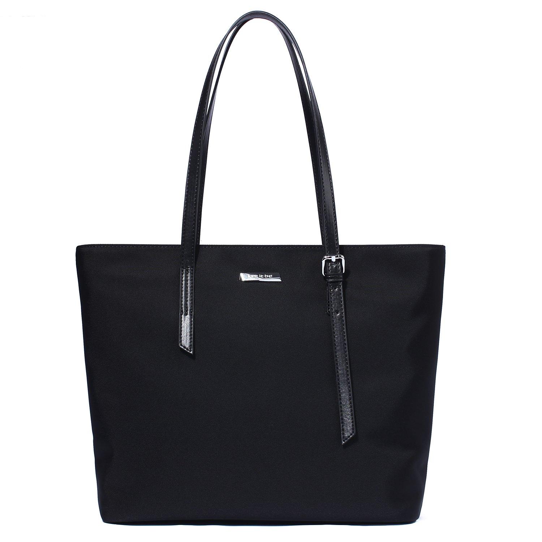Let It Be Basic Spacious Work Laptop Tote Travel Totes Shoulder Bag - Oxford Nylon | Medium Black