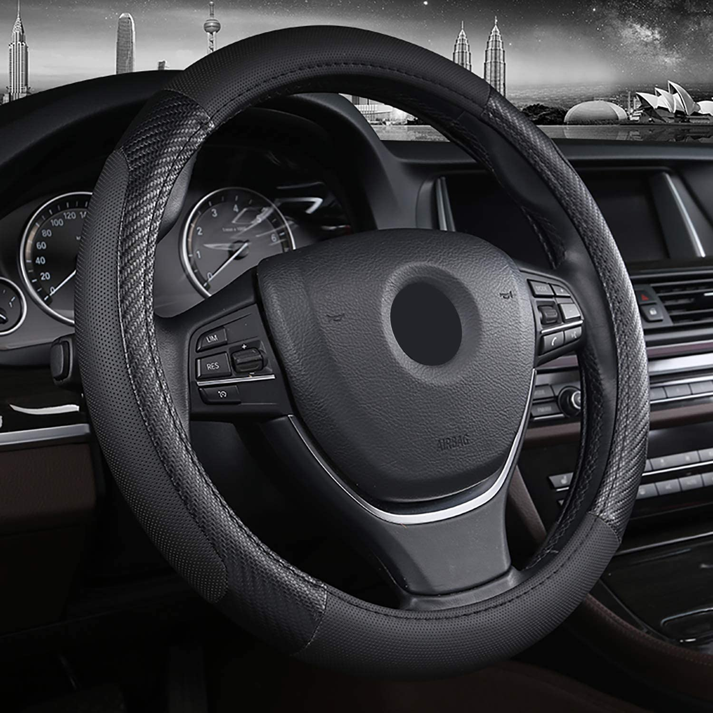 SFONIA Car Steering Wheel Cover Steering Wheel Protector PU Leather Universal 38cm 15 Anti-slip Breathable Durable Blue