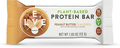 Evolve Plant-Based Protein Bars, Peanut Butter, 10g Protein,1.83Oz 12 Count