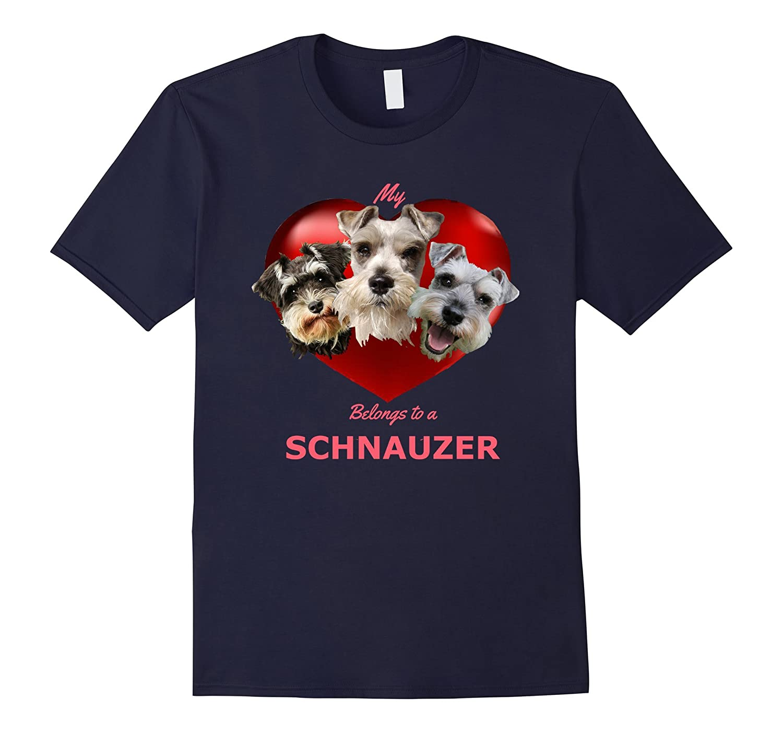 My Heart Belongs to a Schnauzer Dog Tshirt, with 3 Schnauzer-FL