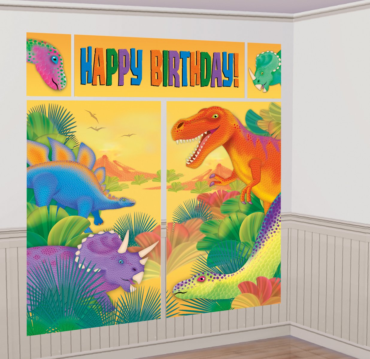 Amazon.com: Prehistoric Dinosaur Giant Scene Setter Wall Decorating ...