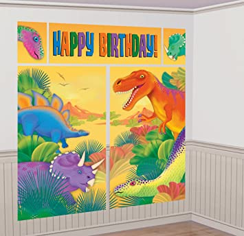 Amazon Prehistoric Dinosaur Giant Scene Setter Wall Decorating Kit Birthday Party Toys Games