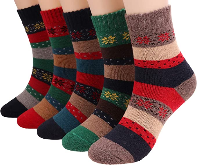 Mens Warm thick Soft Winter 80/% Wool Cashmere Thick Warm Casual Pure Color Socks