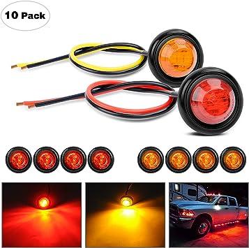 "10X 3//4/"" Round Amber 3 LED Side Marker Indicator Lights for Car Truck Trailer"