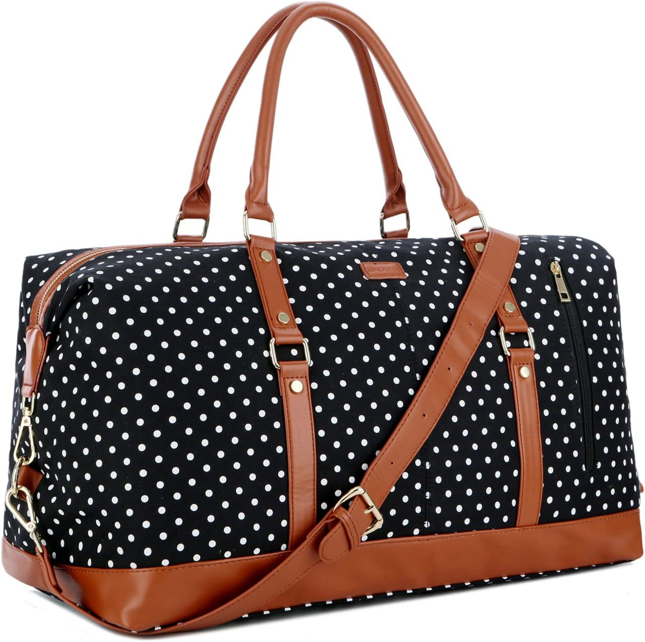 BAOSHA HB-14 Canvas Travel Tote Duffel Bag Carry on Weekender Overnight Bag Oversized for Women and Ladies Black Dot
