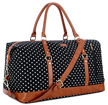 728885e712b3 BAOSHA HB-14 Canvas Travel Tote Duffel Bag Carry on Weekender Overnight Bag  Oversized for Women and Ladies (Black Dot)