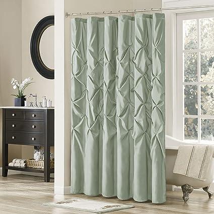 Amazon.com: Madison Park Laurel Blue Shower Curtain, Solid ...