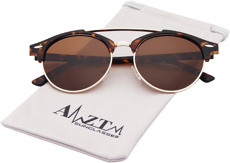 AMZTM Doppelbr/ücke Halbrand Klassisch Retro Polarisiert Verspiegelt Rund Sonnenbrille Damen Herren