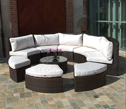 Luxurygarden® Salón de sofás sofá marrón de ratán en ratán ...