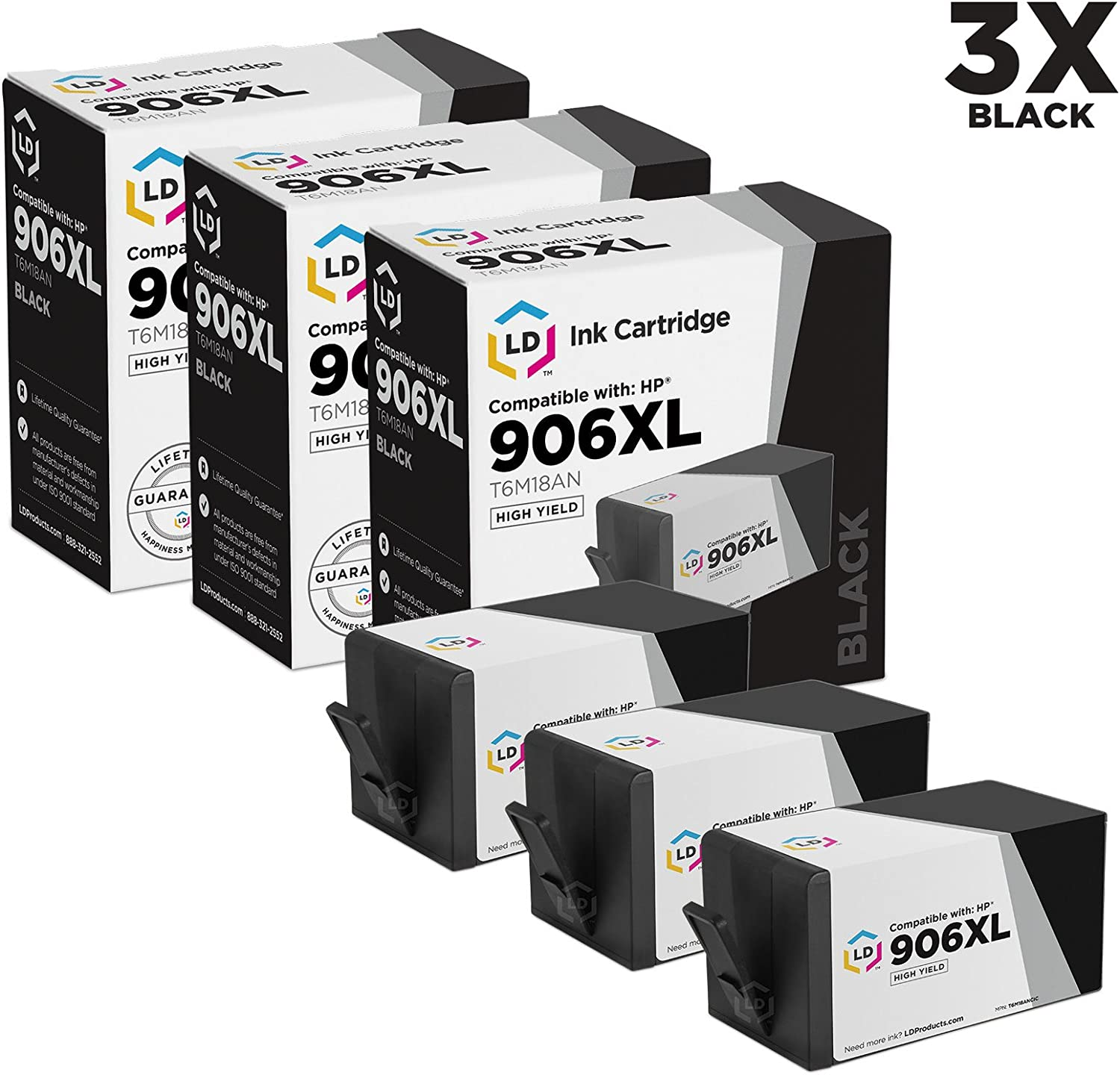 LD Compatible Ink Cartridge Replacement for HP 906XL T6M18AN High Yield (Black, 3-Pack)