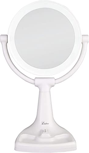 Zadro Max Bright Sunlight Dual Sided Vanity Mirror, White, 10X 1X Magnification