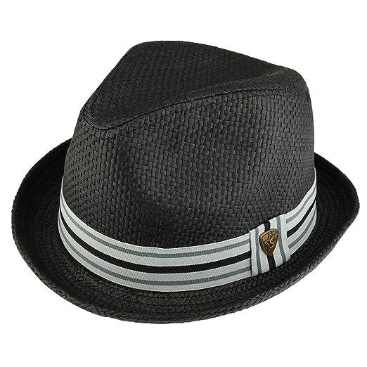9dd02525cca Trendy Apparel Shop Men s Summer Straw Upturned Brim Fedora With Grosgrain Hat  Band - Black -