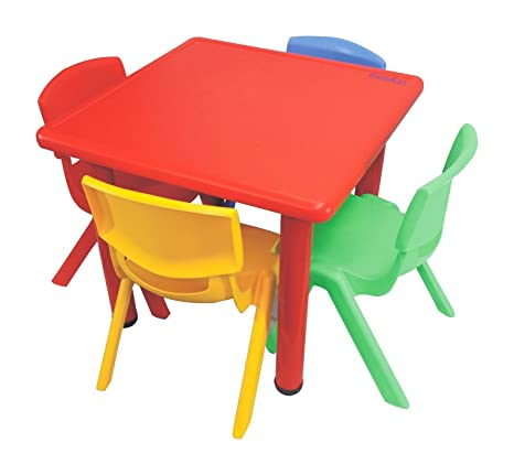 Ehomekart Playgro Multicoloured Kids Plastic Table With 4 Chairs 60 X 60 X 53 Cm Multicolor