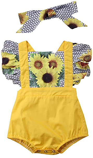9ae381c63 Amazon.com: LOTUCY Toddler Girls Fly Sleeve Sunflower Print Romper Jumpsuit  Bodysuit Outfits with Headband: Clothing