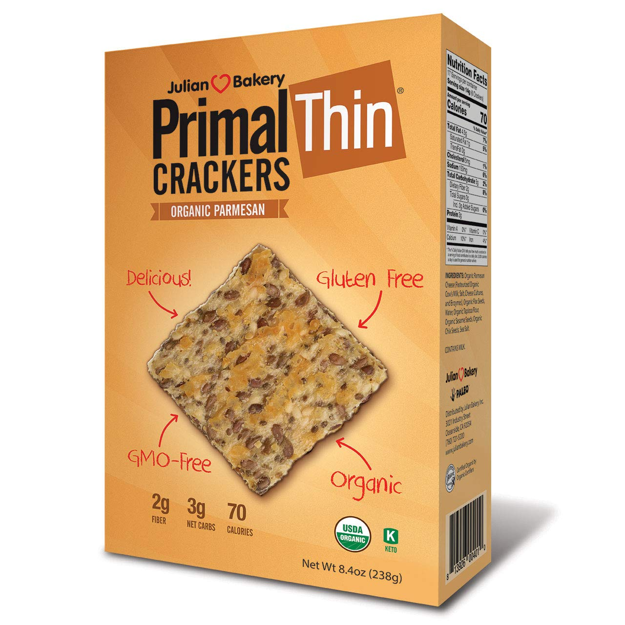 Primal Thin Crackers (Parmesan)(Organic)(Low Carb, Gluten Free, Grain Free) (8.4oz) by Julian Bakery