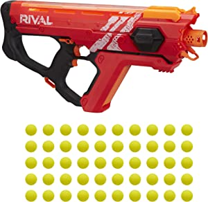 NERF Perses MXIX-5000 Rival Motorized Blaster (red) -- Fastest Blasting Rival System, Up to 8 Rounds Per Second -- Rechargeable Battery, Quick-Load Hopper
