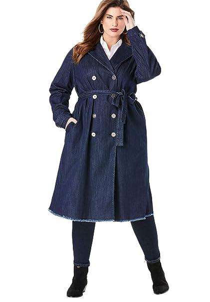 enjoy big discount hot-selling authentic best quality for Roamans Women's Plus Size Denim Trench Coat