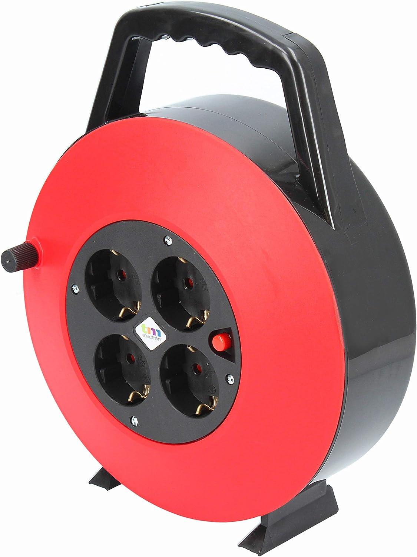 TM Electron TMUAD210 - Cable de alimentación en Bobina Enrollable de 10 Metros con 4 Tomas, Color Rojo